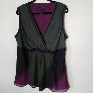LANE BRYANT  green & purple sleeveless top